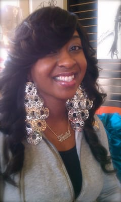 Full sew in weave on african american hair with Brazilian wavy hair