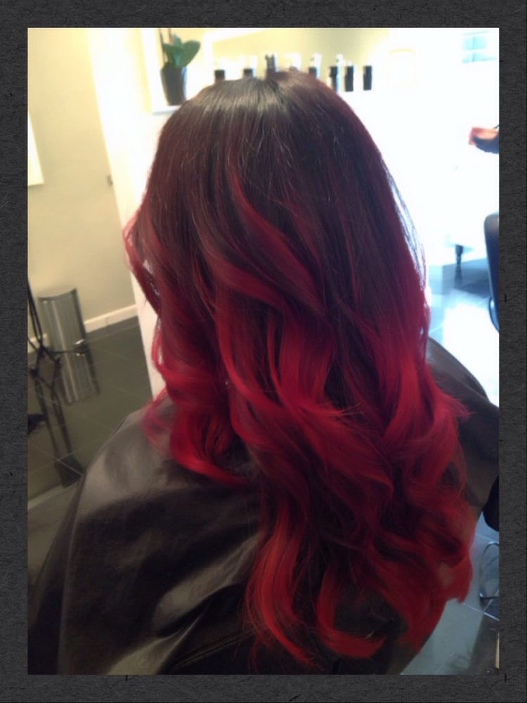 Blonde And Red Highlights In Dark Brown Hair