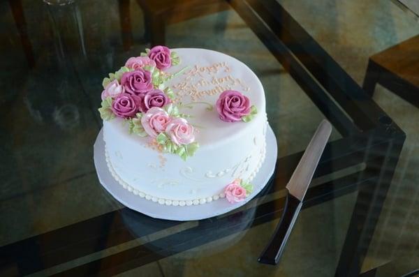 fondant-coated birthday cake for my mom. beautifully designed and ...