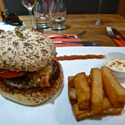 A superb blue cheese burger
