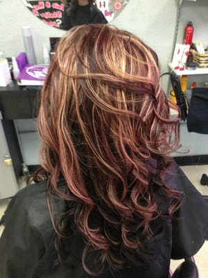 Base chocolate with red and blonde highlights