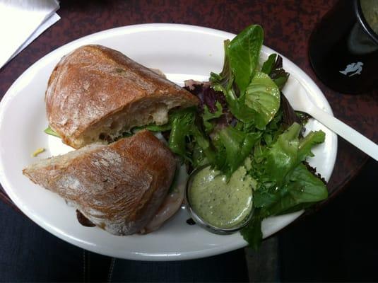 Turkey club sandwich + small green salad!   Yelp