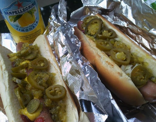 hot dog with mustard relish and jalapenos