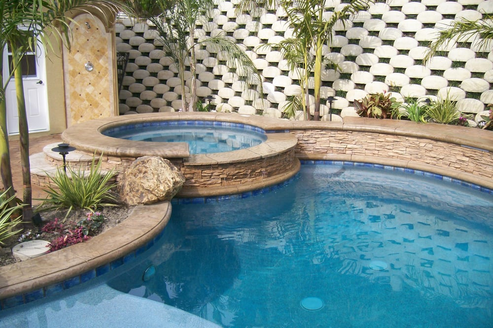 Inground Spas With Stack Stone : New gunite raised spa with stacked stone face on flagstone
