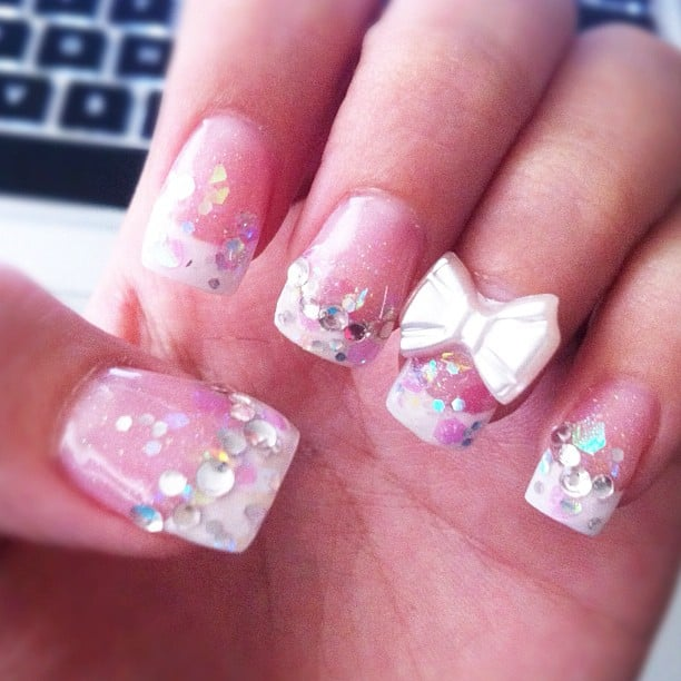 Acrylic nails. Glitter pink base w/ white french tip ...
