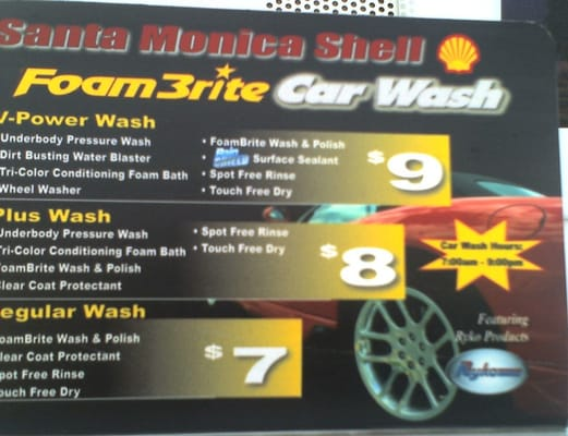 Car Wash Prices: Car Wash Price/service Menu