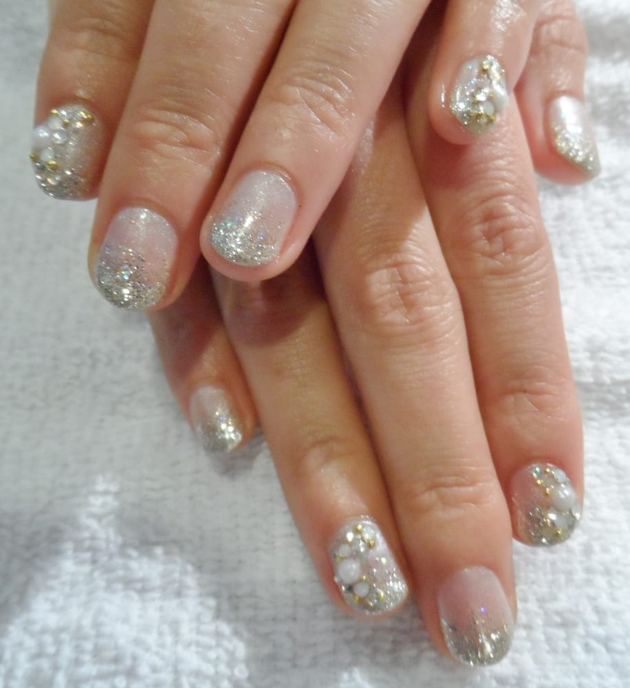 Natural Gel Nails With Glitter Pearl Gems Yelp