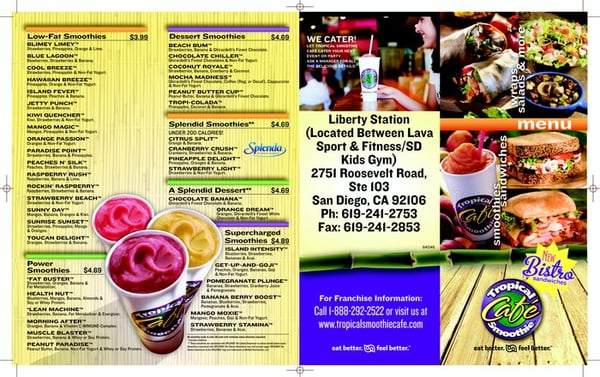 Tropical Smoothie Cafe Menu Marion Ar