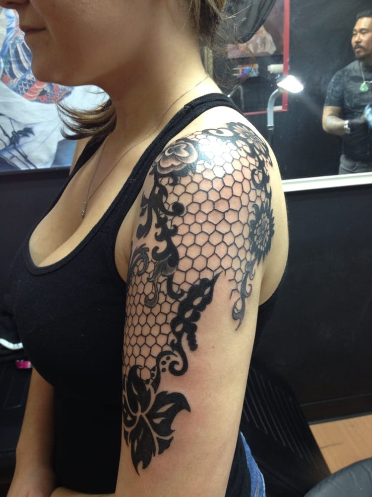 My lace half sleeve done by hung! He did it all by hand ... Lace Sleeve Tattoos For Women