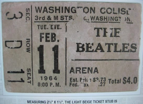 Ticket from Beatles 1964 concert in D.C.
