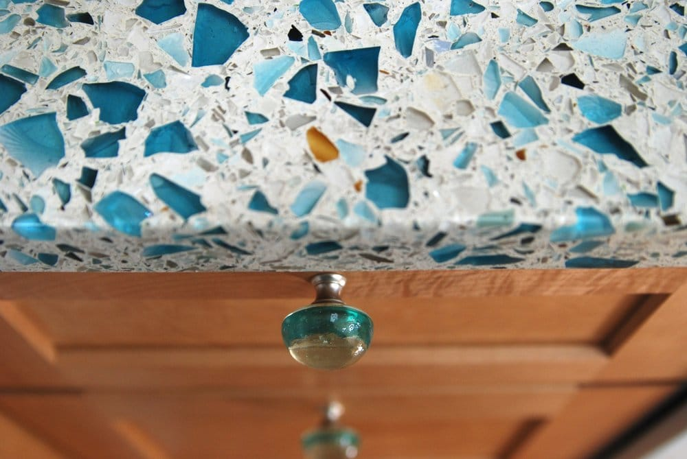 Floating Blue Vetrazzo Maple Cabinets And Recycled Glass Knobs Private Residence Half Moon