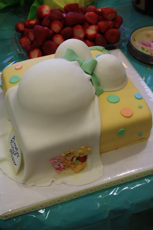 Winnie The Pooh baby shower belly cake - White Valvet Cake ...