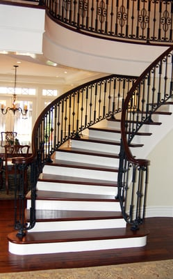 Custom Walnut Stair Case With Iron Balusters Yelp