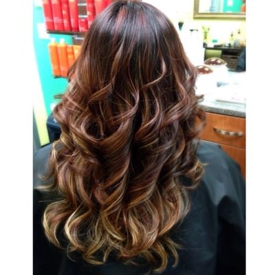 dark red base w/ red highlights & more blonde highlights ...