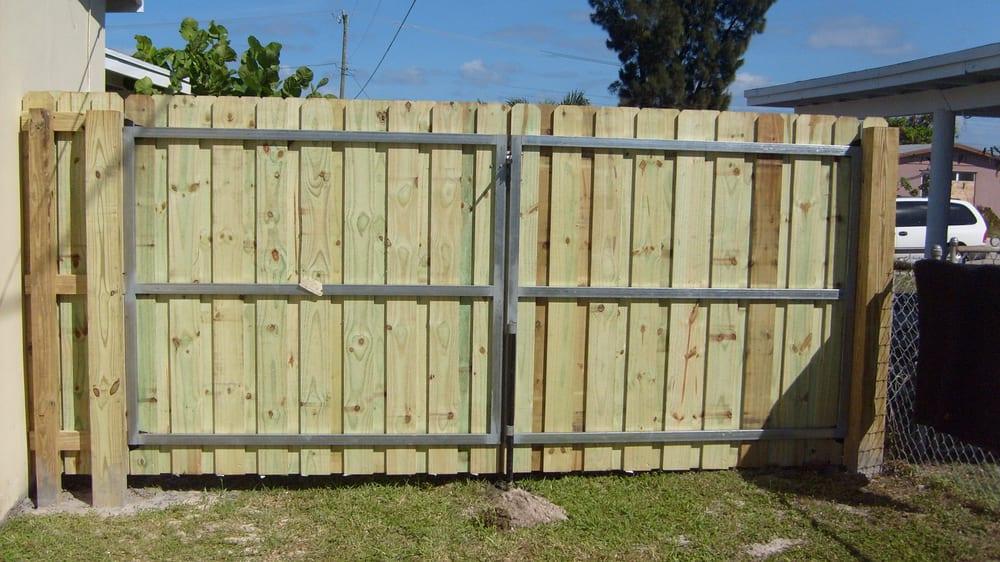 Metal Frame Double Drive Wood Gate Yelp