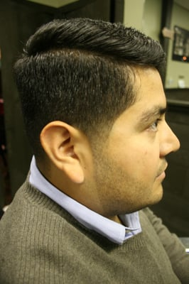 b over style with fade tapered sides and natural beard