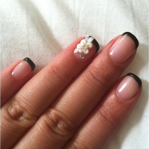 Black French Gel Nails With 3d Flower Art Yelp