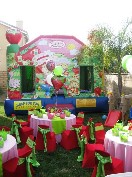 Strawberry Short Cake Theme Birthday Party Table Set Up Setup