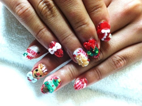 Christmas 3d Nail Art With Ring: Christmas 3D Nail Art