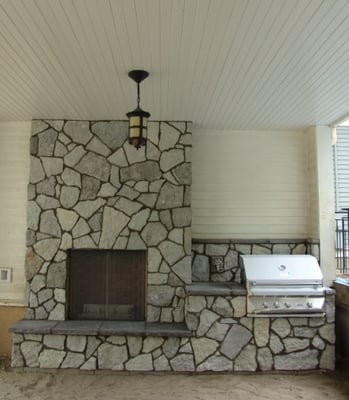 Natural Stone Outdoor Fireplace Outdoor Kitchen Outdoor