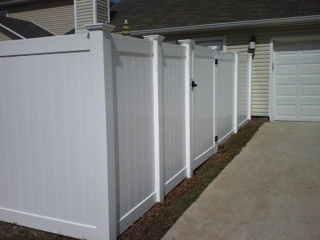White Vinyl Privacy Fence With New England Post Caps Yelp
