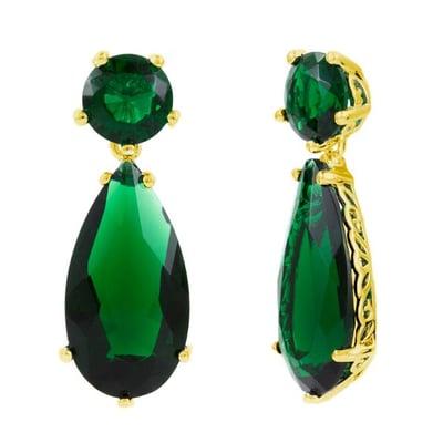 Faux Emerald Drop Earrings
