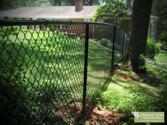Black Vinyl Coated Chain Link Fence Residential