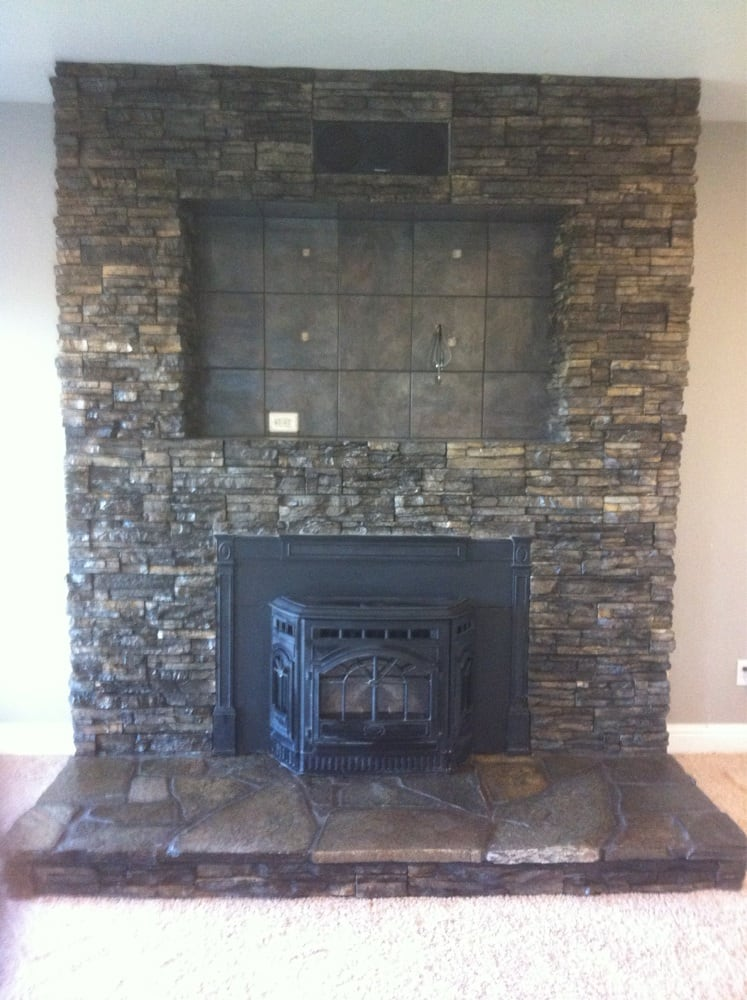 Stone Fireplace Face With Tile Inlay For Flat Screen Tv Yelp